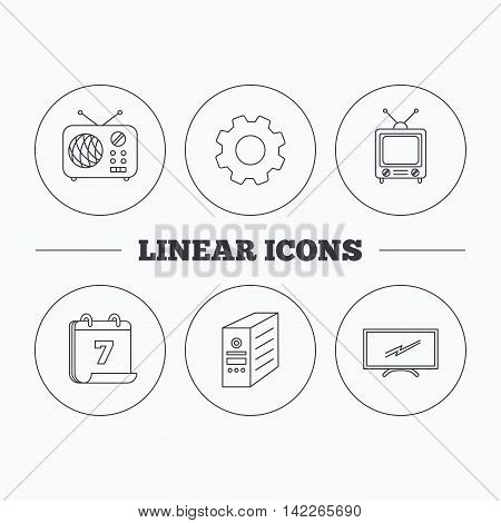 Retro TV, radio and PC case icons. Computer linear sign. Flat cogwheel and calendar symbols. Linear icons in circle buttons. Vector