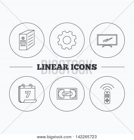 TV remote, VHS cassette and PC case icons. Widescreen TV linear sign. Flat cogwheel and calendar symbols. Linear icons in circle buttons. Vector