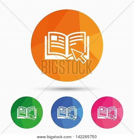 Instruction sign icon. Manual book symbol. Read before use. Triangular low poly button with flat icon. Vector