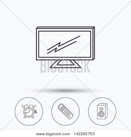 TV remote, alarm clock and sound icons. Widescreen TV linear sign. Linear icons in circle buttons. Flat web symbols. Vector