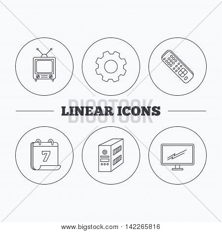 Retro TV, PC case and monitor icons. TV remote linear sign. Flat cogwheel and calendar symbols. Linear icons in circle buttons. Vector