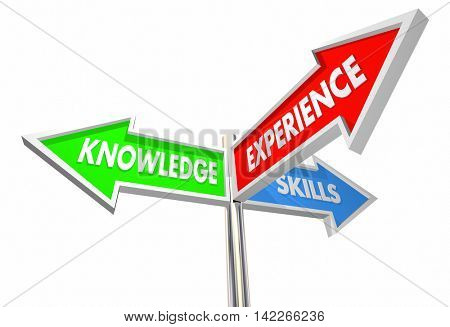 Knowledge Skills Experience 3 Way Three Signs 3d Illustration