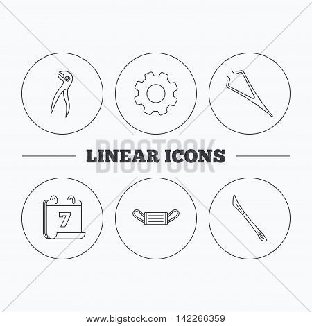 Medical mask, scalpel and dental pliers icons. Eyebrow tweezers linear sign. Flat cogwheel and calendar symbols. Linear icons in circle buttons. Vector