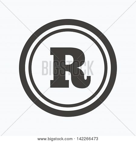 Registered trademark icon. Intellectual work protection symbol. Gray flat web icon on white background. Vector