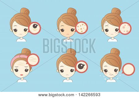 cartoon woman unhappy with her eyebags and wrinkle
