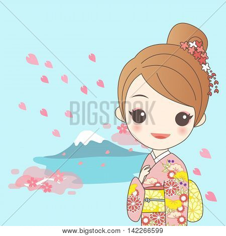 japanese girl is wear kimono with cherry blossom or sakura and fujisan