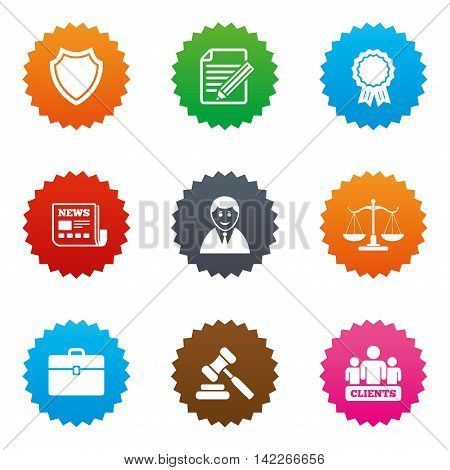Lawyer, scales of justice icons. Clients, auction hammer and law judge symbols. Newspaper, award and agreement document signs. Stars label button with flat icons. Vector