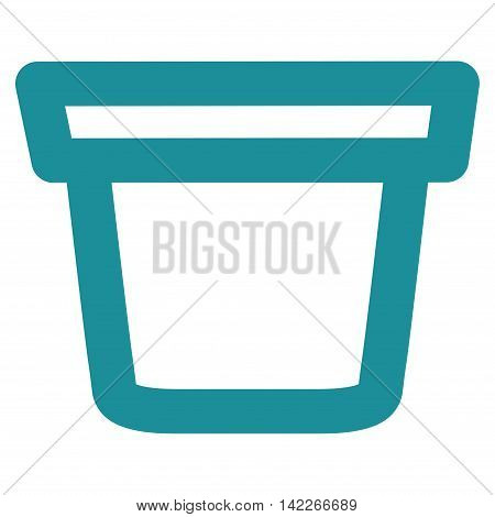 Pail vector icon. Style is linear flat icon symbol, soft blue color, white background.