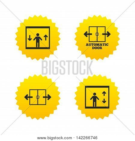 Automatic door icons. Elevator symbols. Auto open. Person symbol with up and down arrows. Yellow stars labels with flat icons. Vector