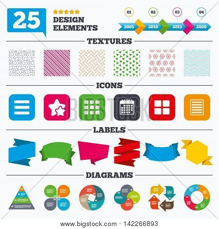 Offer sale tags, textures and charts. List menu icons. Content view options symbols. Thumbnails grid or Gallery view. Sale price tags. Vector