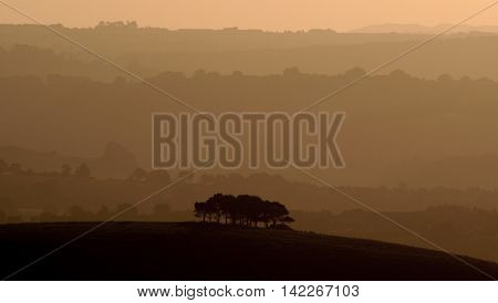 Misty morning over Marshwood Vale in Dorset England