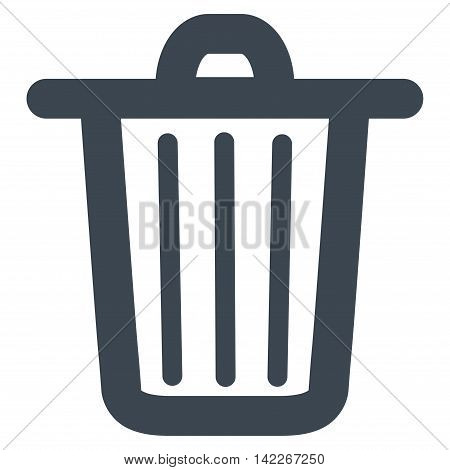 Trash Can vector icon. Style is contour flat icon symbol, smooth blue color, white background.
