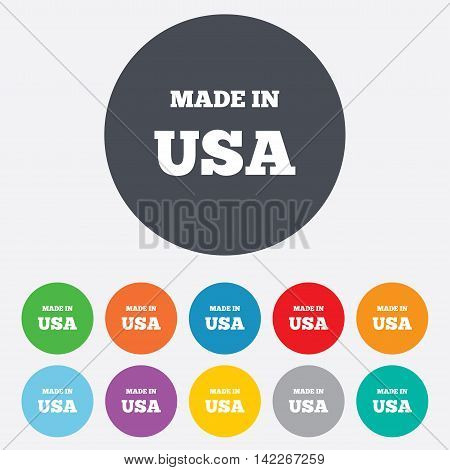 Made in the USA icon. Export production symbol. Product created in America sign. Round colourful 11 buttons. Vector
