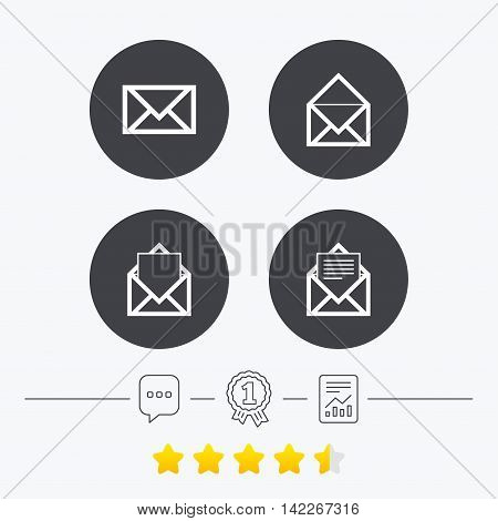 Mail envelope icons. Message document symbols. Post office letter signs. Chat, award medal and report linear icons. Star vote ranking. Vector