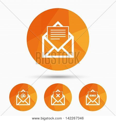 Mail envelope icons. Message document symbols. Post office letter signs. Delete mail and SMS message. Triangular low poly buttons with shadow. Vector