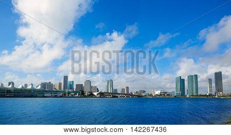 Miami downtown skyline in Florida USA sunny day