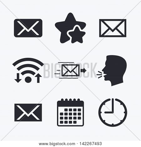 Mail envelope icons. Message delivery symbol. Post office letter signs. Wifi internet, favorite stars, calendar and clock. Talking head. Vector