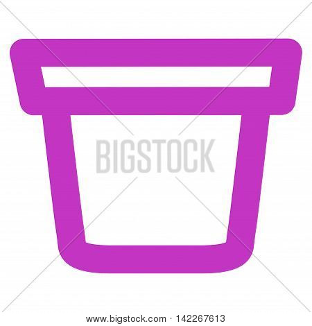 Pail vector icon. Style is outline flat icon symbol, violet color, white background.