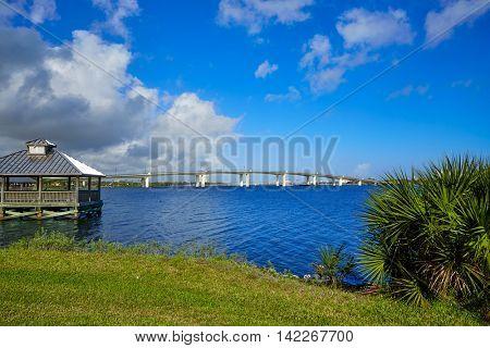 Daytona Beach Halifax river in Florida cabin and bridge USA