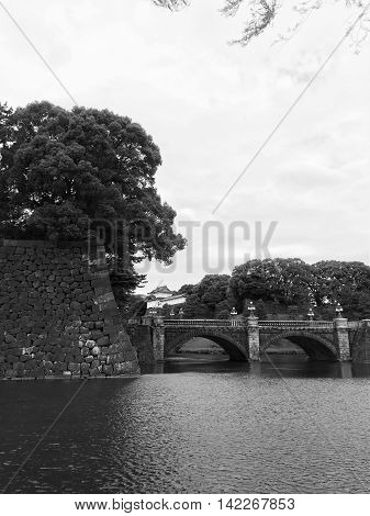 Beautiful Imperial Palace, the bridge, Tokyo, Japan / black and white