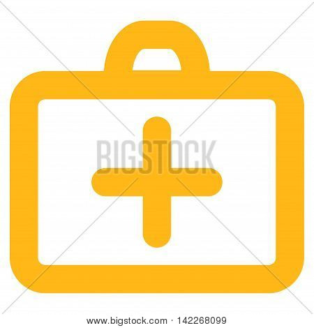 First Aid vector icon. Style is linear flat icon symbol, yellow color, white background.