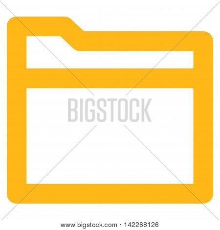 Folder vector icon. Style is contour flat icon symbol, yellow color, white background.