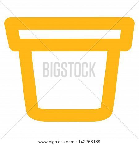 Pail vector icon. Style is stroke flat icon symbol, yellow color, white background.