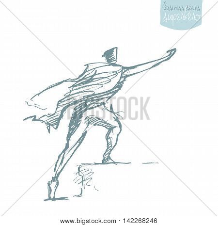 Businessman with a waving cloak. Freedom aspiration winner, creativity, hero concept. Vector illustration, sketch