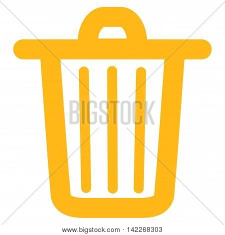 Trash Can vector icon. Style is contour flat icon symbol, yellow color, white background.