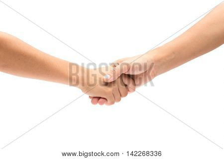 Mom and Daughter hands reach toward each other isolated on white background