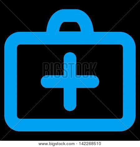 First Aid glyph icon. Style is contour flat icon symbol, blue color, black background.