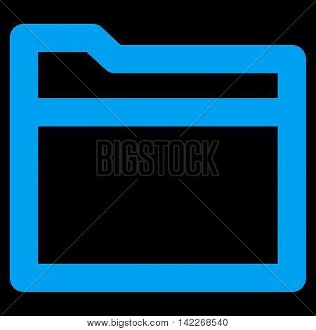 Folder glyph icon. Style is stroke flat icon symbol, blue color, black background.
