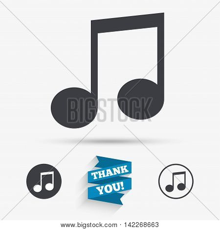 Music note sign icon. Musical symbol. Flat icons. Buttons with icons. Thank you ribbon. Vector