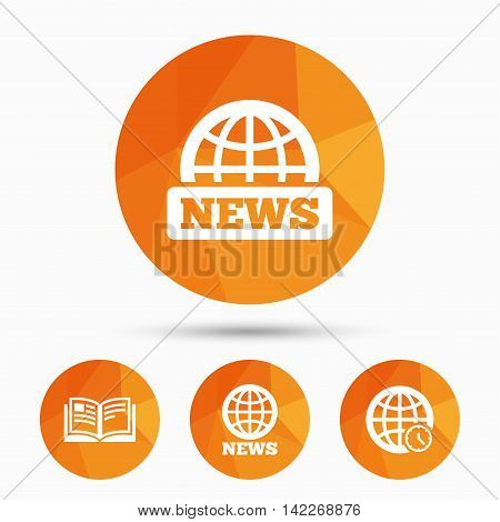 News icons. World globe symbols. Open book sign. Education literature. Triangular low poly buttons with shadow. Vector