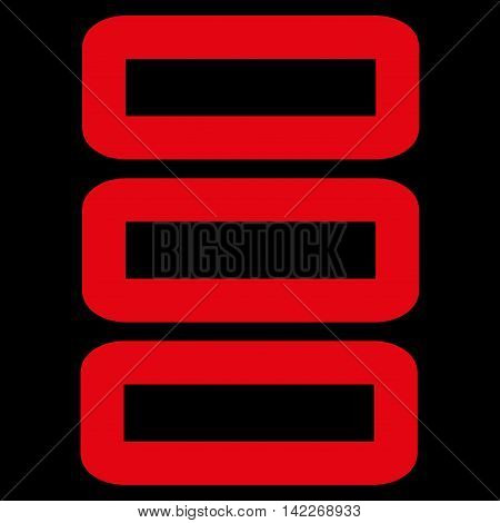 Database glyph icon. Style is contour flat icon symbol, red color, black background.