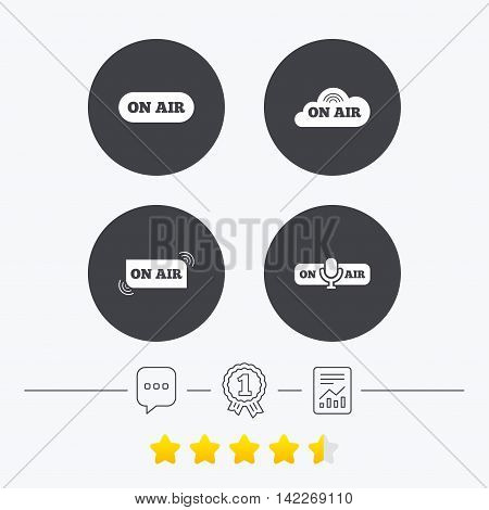 On air icons. Live stream signs. Microphone symbol. Chat, award medal and report linear icons. Star vote ranking. Vector