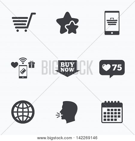 Online shopping icons. Smartphone, shopping cart, buy now arrow and internet signs. WWW globe symbol. Flat talking head, calendar icons. Stars, like counter icons. Vector