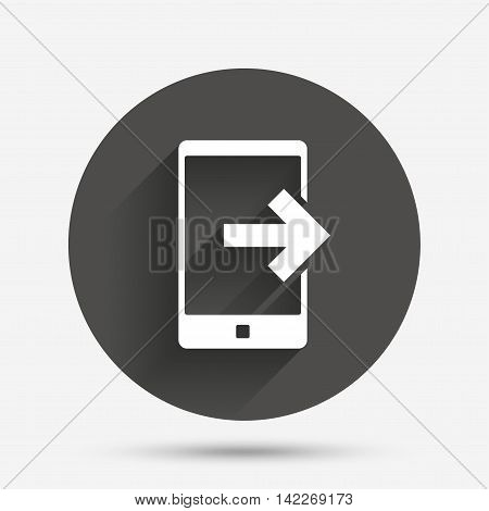 Outcoming call sign icon. Smartphone symbol. Circle flat button with shadow. Vector