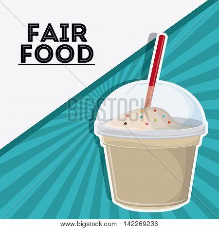 milk shake fair food snack carnival festival icon. Colorfull illustration. Vector graphic