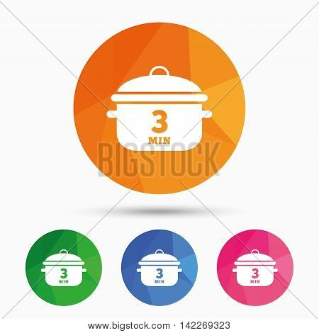 Boil 3 minutes. Cooking pan sign icon. Stew food symbol. Triangular low poly button with flat icon. Vector