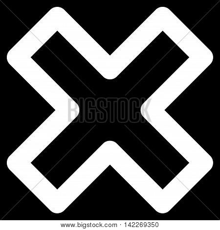 Delete X-Cross glyph icon. Style is stroke flat icon symbol, white color, black background.