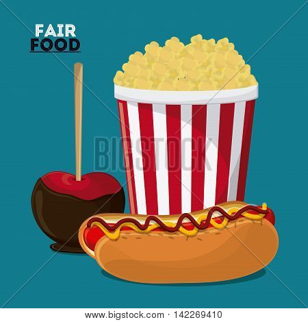 hot dog apple pop corn fair food snack carnival festival icon. Colorfull illustration. Vector graphic