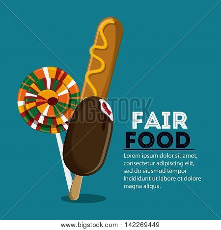 corn dog ice cream candy fair food snack carnival festival icon. Colorfull illustration. Vector graphic