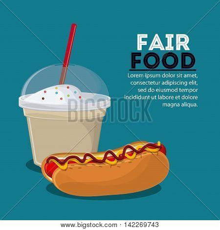 hot dog milk shake fair food snack carnival festival icon. Colorfull illustration. Vector graphic