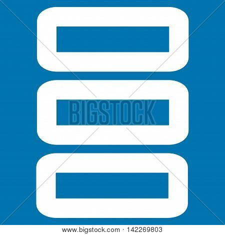 Database glyph icon. Style is stroke flat icon symbol, white color, blue background.