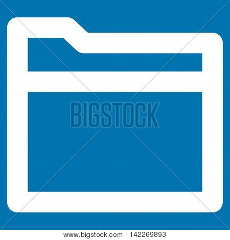 Folder glyph icon. Style is stroke flat icon symbol, white color, blue background.
