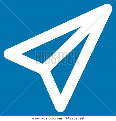 Freelance glyph icon. Style is contour flat icon symbol, white color, blue background.