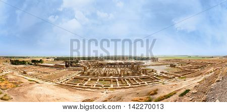 Panoramic view of Persepolis in northern Shiraz Iran. Persepolis has led to its designation as a UNESCO World Heritage Site.