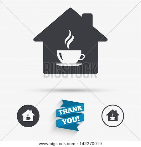 Coffee shop icon. Hot coffee cup sign. Hot tea drink with steam. Flat icons. Buttons with icons. Thank you ribbon. Vector