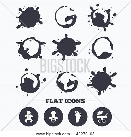 Paint, coffee or milk splash blots. Baby infants icons. Toddler boy with diapers symbol. Buggy and dummy signs. Child pacifier and pram stroller. Child footprint step sign. Smudges splashes drops. Vector
